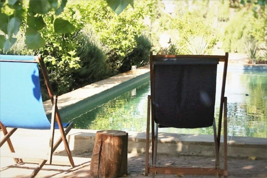 Relaxing Chairs Beside Of Swimming Pool In Country Garden