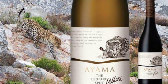 Leopard Logo On White Wine Bottle. Leopard Crawling Down Mountain Rock
