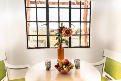 Sunflower in vase on table. Window has distance mountain views