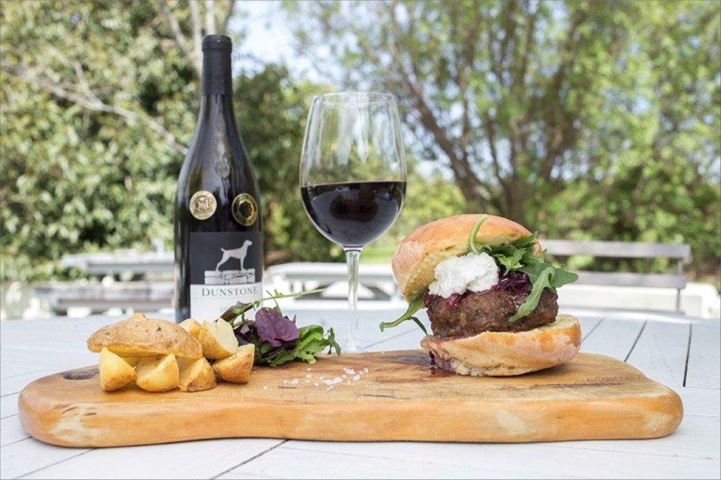Red Wine And Delicious Beef Burger