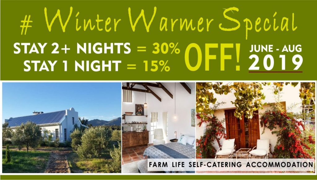 Winter Special June-Aug 2019. Self Catering PAARL. Accommodation. 2 nights or more = 30% Discount. 1 Night = 15% OFF!